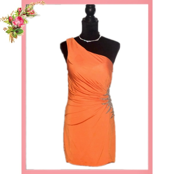 Jovani Dresses & Skirts - Jovani One Shoulder Orange Gem Studded Mini Dress